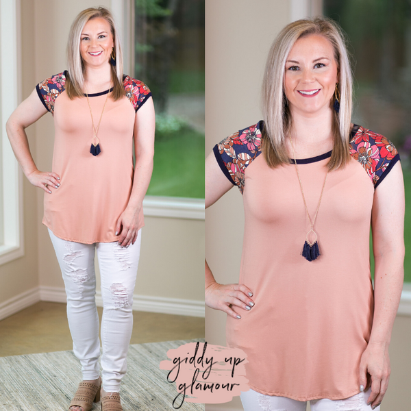 Meadow View Navy Floral Sleeve Top in Peach pink dolman top loose business casual comfy tee navy trim neckline