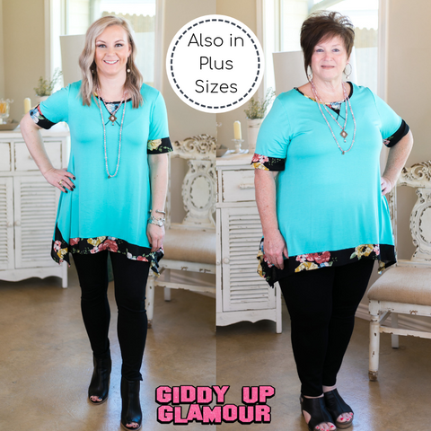 Whenever This Happens Tunic with Floral Trim in Turquoise
