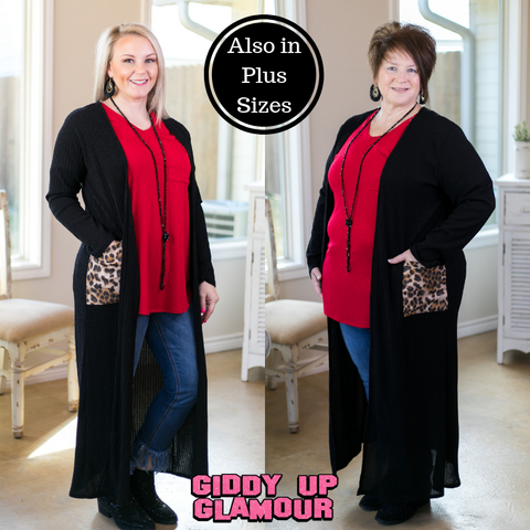 Better Believe It Long Knit Cardigan with Leopard Pockets in Black