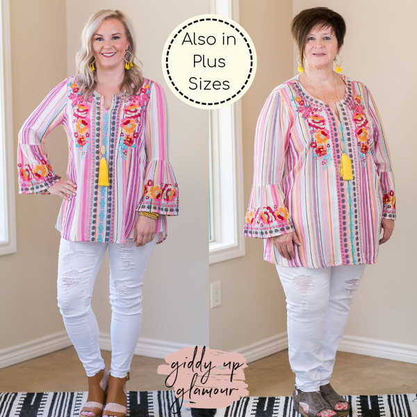 On My Way To You Floral Embroidered Bell Sleeve Top in Multi Color Serape
