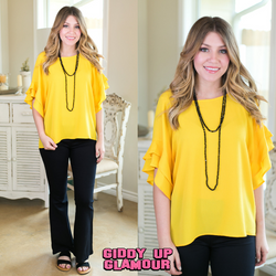 basic needs Women's trendy plus size boutique clothing solid ruffle shirt top blouse affordable umgee banana bright yellow