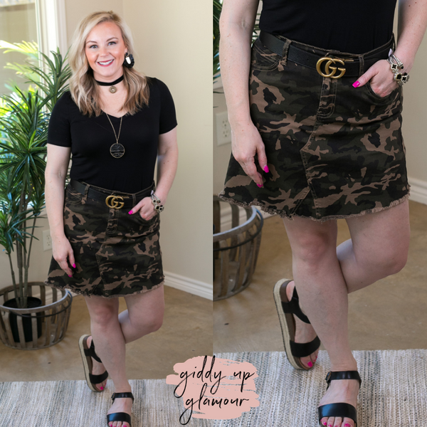 L&B | Test the Limits Unfinished Hem Denim Skirt in Camouflage