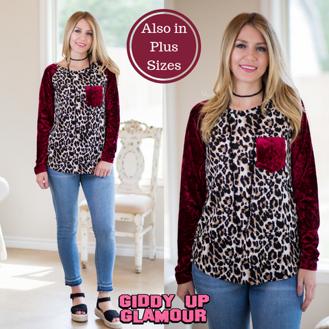 Spread The News Leopard Top with Velvet Sleeves and Pocket in Maroon