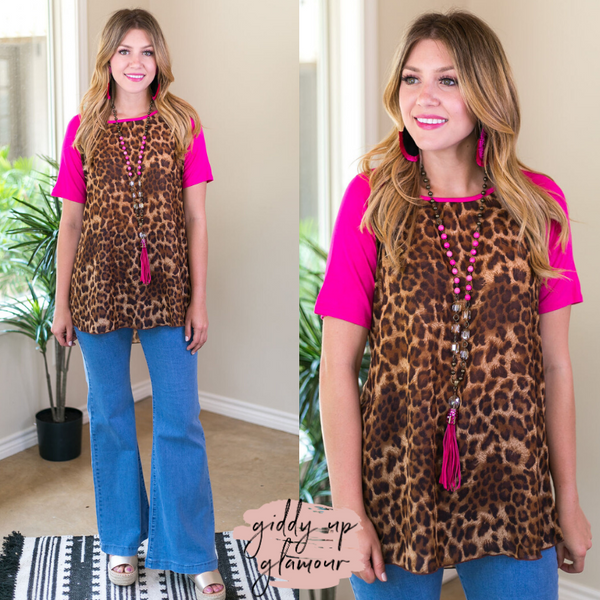 Online Exclusive | Who Is She Sheer Leopard Top with Fuchsia Sleeves