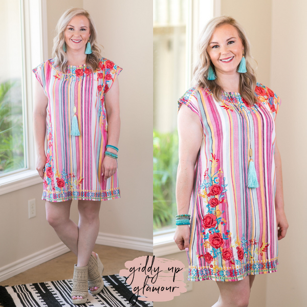 Fighting Silence Floral Embroidered Dress in Multi Color Serape