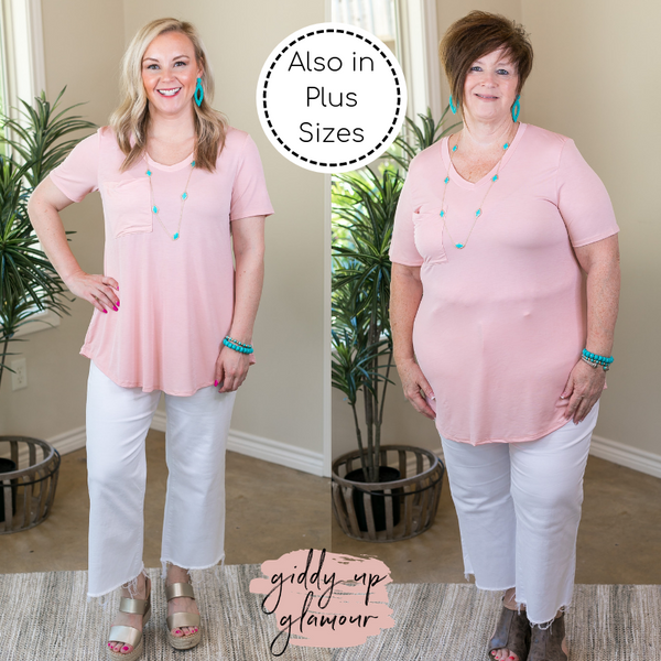 Just Right Short Sleeve Pocket Tee in Blush Pink