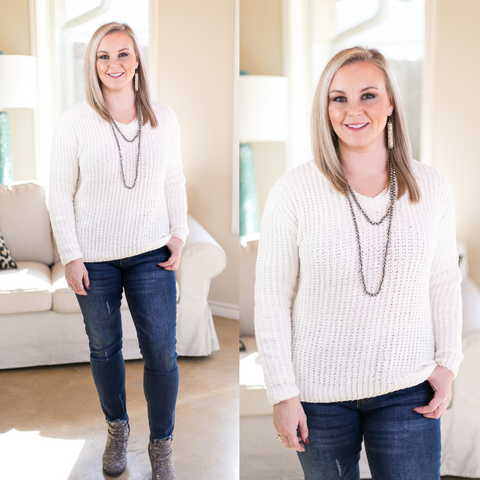 Cozy Content V Neck Knit Chenille Sweater in Ivory
