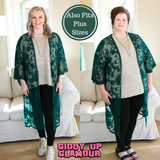 Spring Ahead Lace Kimono Duster in Sea Green