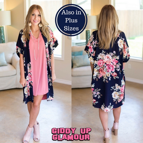 On Another Level Floral Kimono in Navy Blue