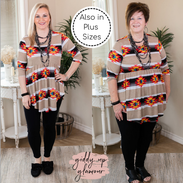 As You Wish Aztec Print Baby Doll Top in Taupe with red and black and yellow western fashion 3/4 sleeve top