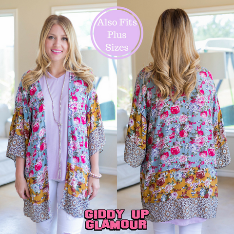 For So Many Reasons Floral Printed Kimono in Cool Grey