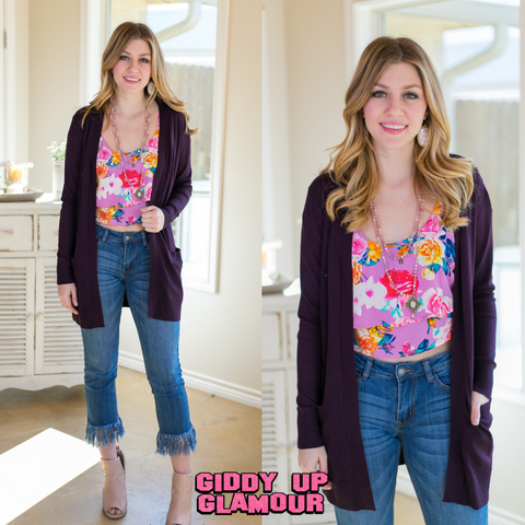 Beat The Chill Basic Knit Cardigan in Dark Purple