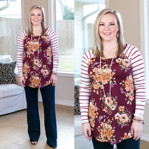 Simple Favor Stripe and Floral Tunic Top in Maroon