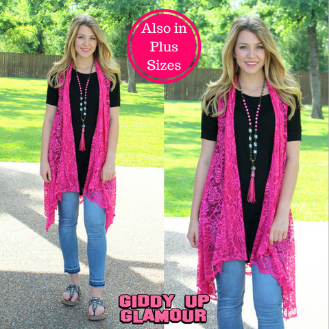 Closer to You Lace Sleeveless Vest in Hot Pink