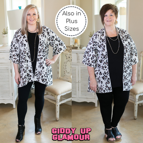 Sweet Treat Leopard Print Kimono in White