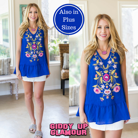 Sweet Little Thing Sleeveless Floral Embroidery Top in Royal Blue