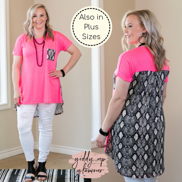 What A Charmer Pocket High Low Short Sleeve Top with Snakeskin Detail in Neon Pink