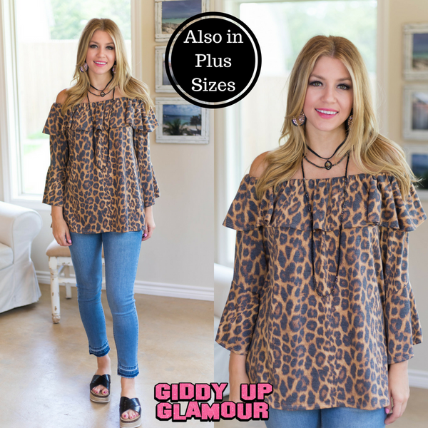 Everlasting Thought Ruffle Off Shoulder Top in Leopard