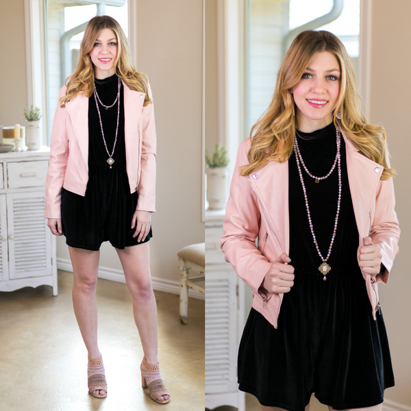 In Full Gear Blush Pink Leather Moto Jacket