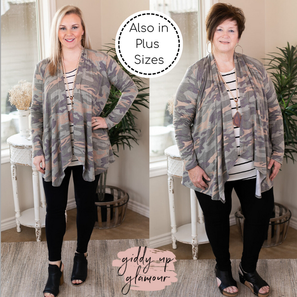 Under Cover Long Sleeve Cardigan in Camouflage waterfall front