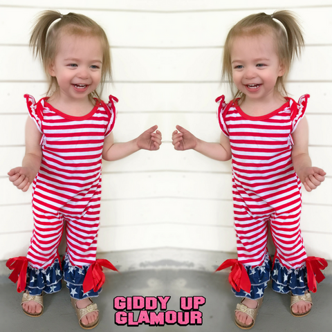 Children's Star Spangled Stripe Romper with Star Ruffle Trim