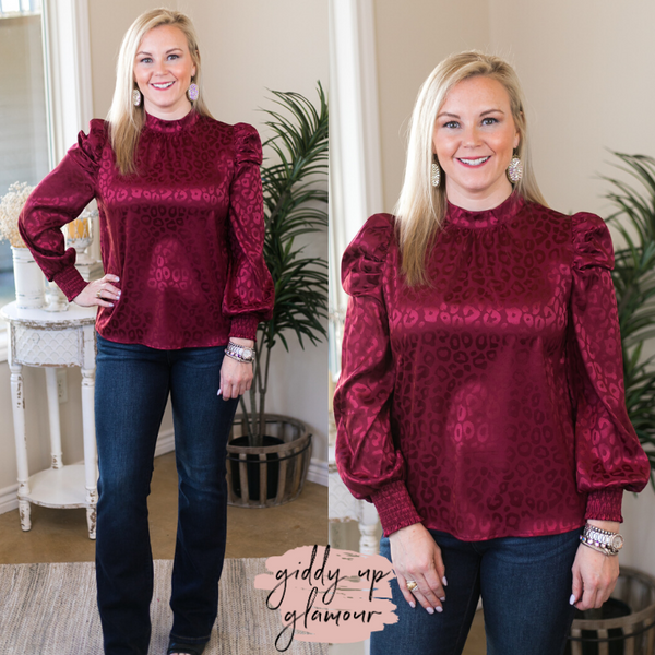 Talk of the Town Leopard Print Long Sleeve Blouse in Maroon