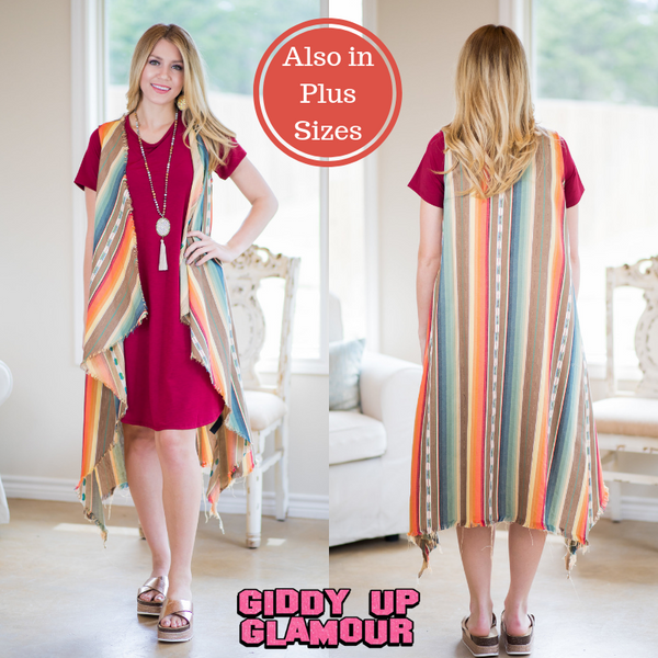 Simply Iconic Distressed Serape Vest in Mocha