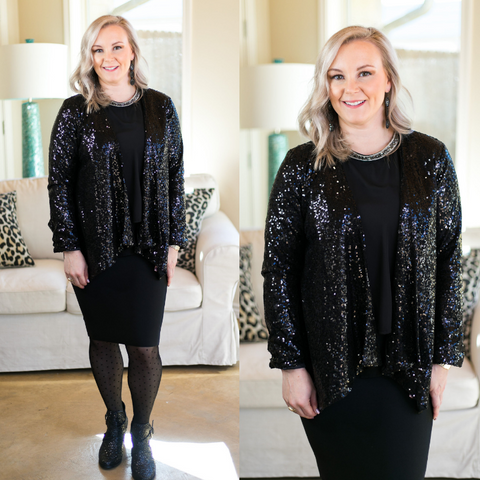 Glam Slam Sequin Blazer Jacket in Black