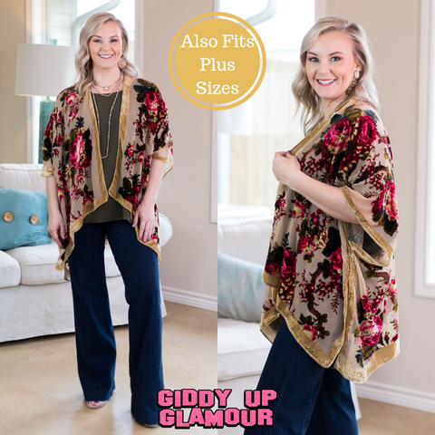921cd3b4353 No More Excuses Floral Velvet Kimono in Camel ...