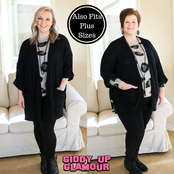 Warm Their Hearts Knit Cardigan with Pockets in Black