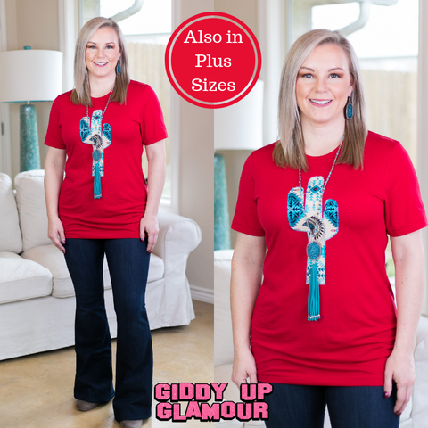 The Wild West Tribal Cactus Tee Shirt in Red
