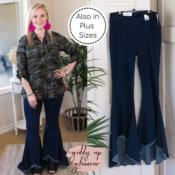 Judy Blue | Because I Can High-Low Flare Jeans with Raw Hem in Dark Wash