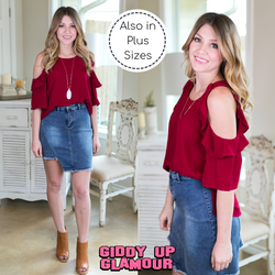 stylish surprise Women's trendy plus size boutique clothing solid ruffle cold shoulder shirt top blouse affordable umgee maroon burgundy
