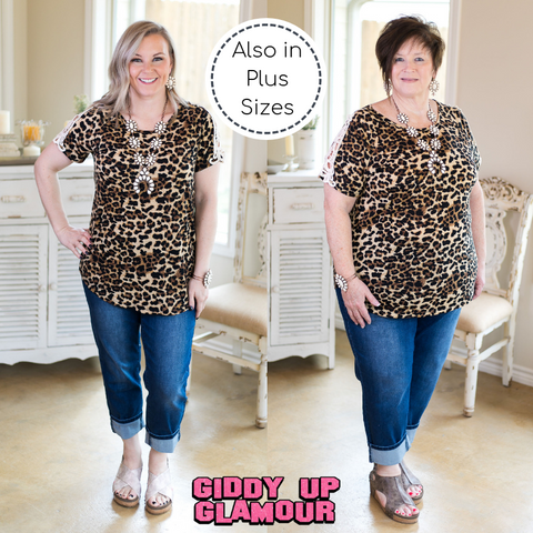 If I'm Honest Short Sleeve Top with Crochet Lace Detailing in Leopard