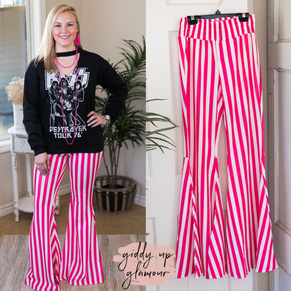 Believe In This Striped Bell Bottom Pants in Pink