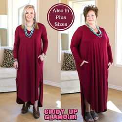 6e796a4fa714 Giddy Up Glamour Boutique · Facebook Pinterest Twitter. Simple Love Long  Sleeve Tee Shirt Maxi Dress in Maroon