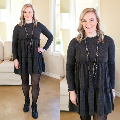 It's Your Time Long Sleeve Tiered Baby Doll Tunic in Charcoal Grey