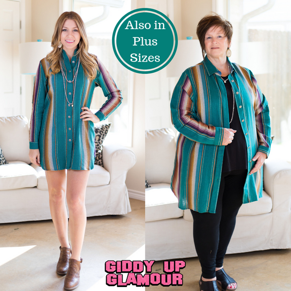 DAMAGED | MEDIUM Sweetest Moment Serape Button Up Tunic in Turquoise