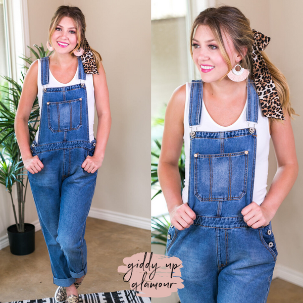 Best Overall Denim Overalls in Medium Wash blue jean front pocket boyfriend fit casual