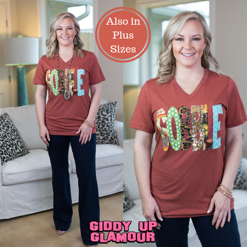 Gobble Short Sleeve Tee with Hand Sewn Letters in Clay