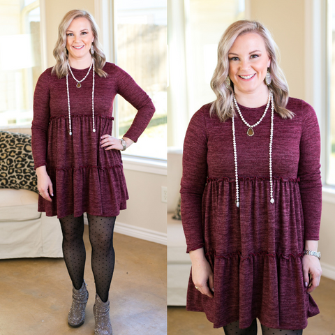 It's Your Time Long Sleeve Tiered Baby Doll Tunic in Maroon