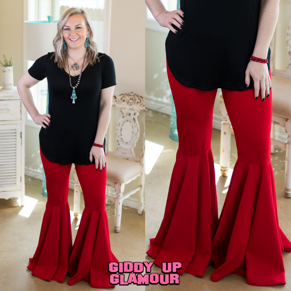 Hot on the Trail Wide Bell Bottom Pants in Red