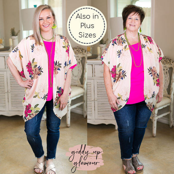 Umgee treasured moments Women's trendy plus size boutique clothing affordable floral print kimono duster sheer cover up cocoon Curvy Plus Sizes Full Figured Fashion Plus Size boutique