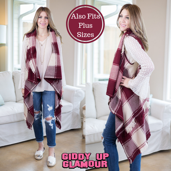 Favorite One Plaid Vest with Frayed Hem in Maroon