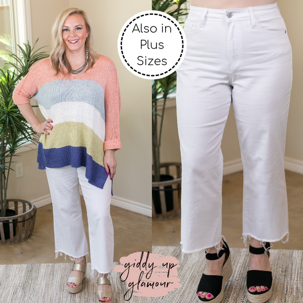 Judy Blue | Thank Me Later Hi Waist Wide Leg Crop Jeans in White