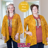Only In Your Dreams Lace Kimono in Mustard Yellow