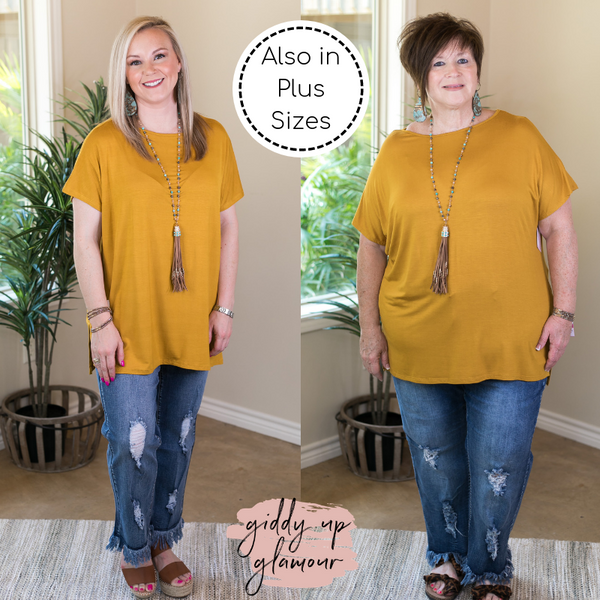 Everyday Basics Drop Sleeve Solid Piko Top in Mustard Yellow