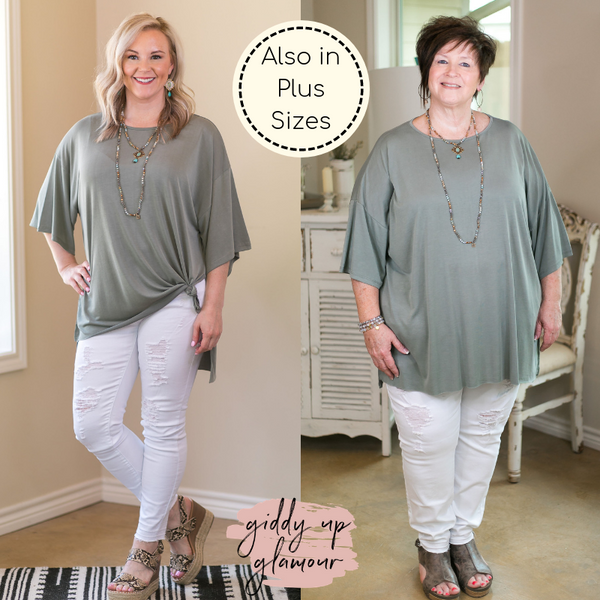 Back To The Basics Super Soft Oversized Top in Sage Green