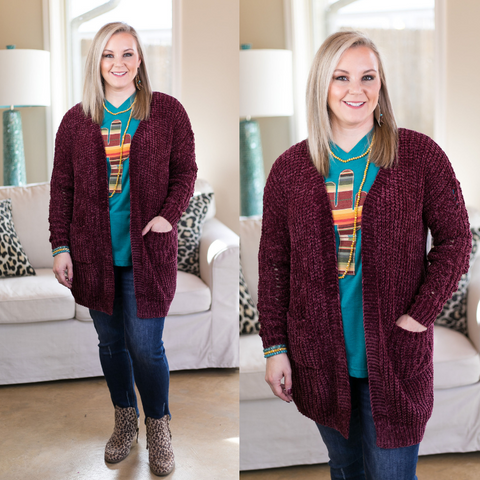 All Day Long Chenille Cardigan in Maroon