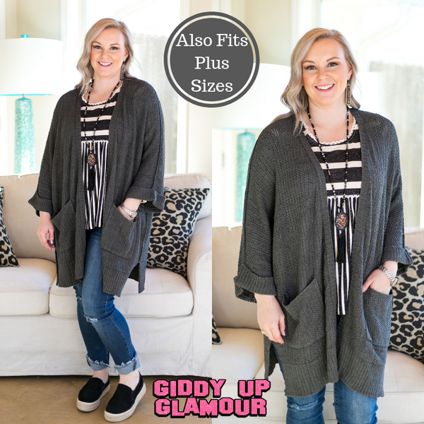 Warm Their Hearts Knit Cardigan with Pockets in Charcoal Grey